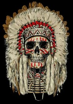 Want this Native American chief headdress on my right thigh with my grandpa's face instead of the skull. Maybe add the face paint as well.