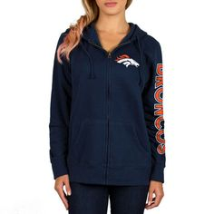 Women's Denver Broncos Navy Extra Point 2 Hit Full-Zip Hoodie