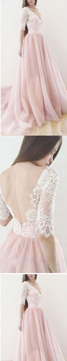 Long prom dress, v back prom dress, pink prom dress, half sleeves prom dress, v neck prom dress, evening dress #prom #promdress #longpromdress