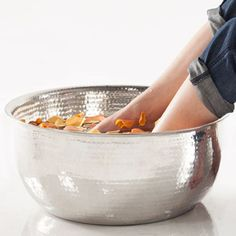 Hand Hammered Stainless Steel Pedicure Bowl—Available colors pink, teal, white, etc.