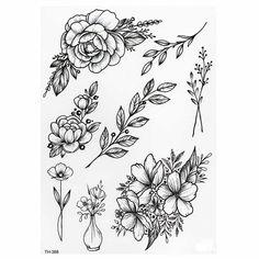 Fake Tattoos, Black Tattoos, Small Tattoos, Real Tattoo, Diy Tattoo, Tattoo Ink, New Tattoos, Flower Tattoo Arm, Flower Tattoo Designs