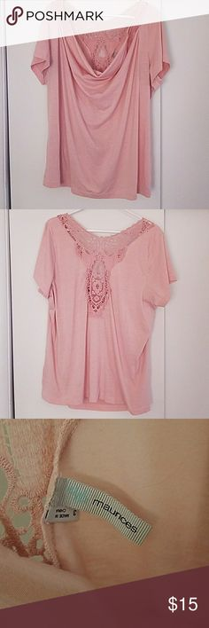 Light pink lace top Maurices size 3 Light pink  Draped front Lace back Maurices Tops Blouses
