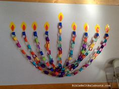 Paper Chain Menorah on stage (sounds like a show) Hanukkah For Kids, Hanukkah Crafts, Hanukkah Decorations, Hannukah, Stage Decorations, Bible For Kids, Diy For Kids, Crafts For Kids, Menorah