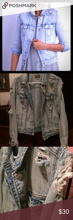 AE Destroyed Denim Jean Jacket Bought on posh ✨ doesn't fit ☹️ super cute perfect condition American Eagle Jean Jacket size Medium. All factory made holes, super cute light wash!! American Eagle Outfitters Jackets & Coats Jean Jackets
