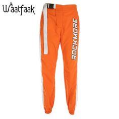 Waatfaak Casual Patchwork Pencil Pants High Waist Buckle Belt Trousers Women Orange Zipper Pocket Sweatpants and Joggers Fitness Moto Pants, Cargo Pants Women, Jogger Pants, Trousers Women, Joggers, Pants For Women, Sweatpants, Japanese Streetwear, Orange