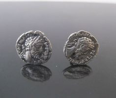 Sterling Silver Cufflinks w/Ancient 2cnd Century BC Athens DRACHMA Greek Coins