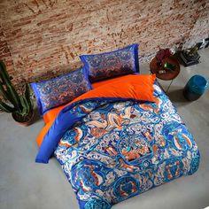 Blue Bohemian duvet cover set,queen king size bedding set,100% Egyptian cotton digital printing bed sheet/pillowcase/quilt cover
