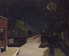 Paul Delvaux - Small Train Station at Night