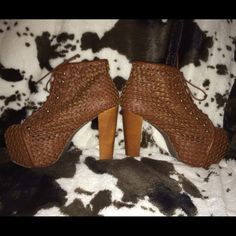 Jeffrey Campbell Lita Boot These are in great pre worn condition; worn 3 times by myself. Super light weight and comfy! Heel comes in at a little under 5in. Super soft cognac mesh leather Jeffrey Campbell Shoes Ankle Boots & Booties