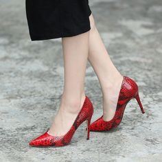 Shoespie Red Real Leather Snake Effect Stiletto Heels