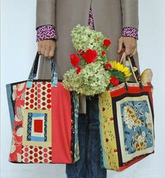 Free Denyse Schmidt Market Tote pattern...look amazing while rushing around the market