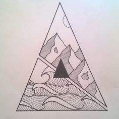 @bay_dfl Final shot! #blackandwhite #artwork #blackwork #triangle #mountains #waves #ocean