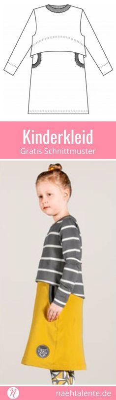 Freebook - Herbst- und Winterkleid für Mädchen ❤ für Sweatshirt- und Strickstoffe ❤ Gr. 86 - 140 ❤ PDF zum Ausdrucken ❤ Kinderkleid selber nähen ❤ ✂ Jetzt Nähtalente.de besuchen ✂ Free sewing pattern for an atumn- and winter-dress ❤ for knit- and sweatshirt fabrics ❤ PDF pattern for print at home ❤ size 86 - 140 #nähen #freebook #schnittmuster #gratis #nähenmachtglücklich #freesewingpattern #handmade #diy