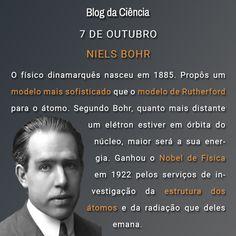 Bohr nasceu na Dinamarca em 1885. Ganhou o Nobel de Física em 1922 pelos serviços de investigação da estrutura dos átomos e da radiação que deles emana.