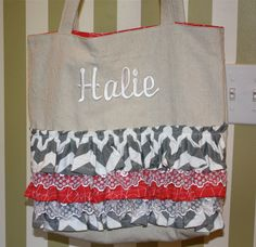 Monogrammed Ruffle and Lace Tote Bag - Red and Gray Chevron. $50.00, via Etsy.