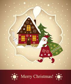 Красивая Новогодняя открытка 03 - вектор материала