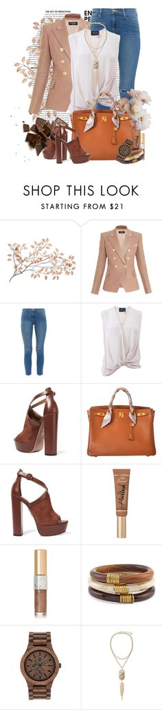 """""""new spring"""" by kiera-van-witte ❤ liked on Polyvore featuring Balmain, Frame Denim, Lanvin, Aquazzura, Hermès, Too Faced Cosmetics, Yves Saint Laurent, Chico's, WeWood and Kendra Scott"""