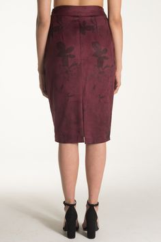 Meet Flora.   Get date night ready in this deep rose colored stretch faux suede pencil skirt with lace up slit detail and black floral watercolor print. So soft you won't miss the real thing. High waisted with lace up detail.  Available for pre-order now!