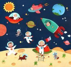 Emilie Chollat: Space and Circus puzzle illustrations by Good Illustration. Writing Pictures, Picture Composition, Space Theme, Space Crafts, Children's Book Illustration, Art Festival, Clipart, Storytelling, Art For Kids