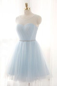 2018 cheap Light blue tulle see-through round neck lace up short dress 2017 new formal prom dress for teens