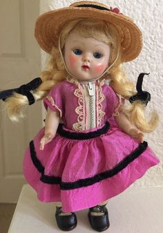 Vintage Strung Vogue Ginny Doll In Rare Pink Silk Outfit All Original 1950's