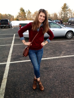 Outfit to school. Layering a denim shirt under a maroon deep v. Leather accents with watch, purse and boots. Preppy with an edge. :)