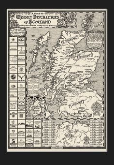 The Whisky Map of Scotland (with mount) / Manuscript Maps