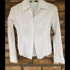 SPRING SUPER SALE  Pinstripe Button Up Blouse Button up Blouse with Black Pinstripes. Long sleeves. Top is pre-loved but only real issue I see is it's missing a button, an easy fix but price does reflect this. Rampage Tops Button Down Shirts