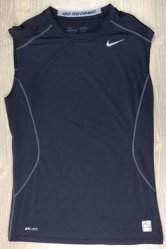 1b7fd04dc863 Nike Pro Combat Core 2.0 T Shirt Medium Mens Dri Fit Fitted Sleeveless Top  Black Nike