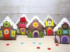 """""""Пряничные домики"""" (5 шт) набор елочных игрушек - бежевый,новогодняя игрушка"""