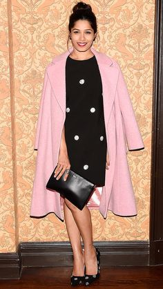 Freida Pinto in a polka-dot LBD and pink coat