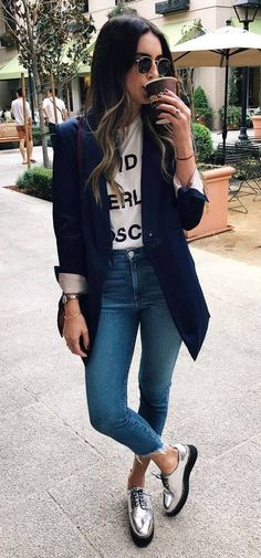 Top 5 Metallic Shoes Thrifts and Threads White tshirt with graphiccropped denimsilver laced shoesNavy long blazerbrown crossbodysunglasses Fall Casual Outfit 2016 Mode Outfits, Office Outfits, Fashion Outfits, Womens Fashion, Latest Fashion, Fashion Ideas, Fashion Trends, Fashion Hair, Swag Fashion