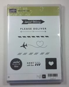 Stampin' Up! SENT WITH LOVE Clear Mount Rubber Stamp Valentine Heart Kiss #StampinUp #Background
