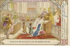 Mariage de François II et Marie Stuart. Au sortir de la petite enfance, François reçoit pour gouverneur Jean d'Humières et pour précepteur Pierre Danès, hellèniste d'origine napolitaine. La danse lui est enseignée par Virgilio Bracesco et l'escrime par Hector de Mantoue. Par l'accord signé à Châtillon le 27 janv 1548 il est fiancé dès l'âge de 5 ans à Marie Stuart reine d'Ecosse et petite fille de Claude de Lorraine, 1° duc de Guise. Il l'épouse le 24 avril 1558 et devient roi consort… Reign Mary, Mary Queen Of Scots, Queen Mary, François Ii, Marie Stuart, Mary I, Claude, Queen Elizabeth, Tudor