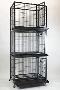 """New 37"""" Homey Pet Open Top Heavy Duty Dog Pet Cage Kennel w/ Tray, Floor Grid, and Casters (3 Tiers) >>> Read more  at the image link."""