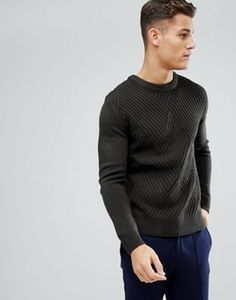 Stradivarius Rib Texture Sweater in Khaki