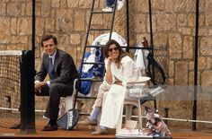 Handsome Stefano Casiraghi, Italian Businessman & World Speedboat Champion, with his Beautiful & Stylish wife Princess Caroline of Monaco. Watching a tennis match in Monaco, circa 1987.