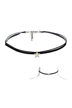 "A set of two lightweight choker necklaces featuring a hanging solid star pendant. Color: Gold, Silver. Material: Base Metal, Polyester Cord Closure: Lobster Clasp Measurement: 3"" Extender, 12"" Chain L"