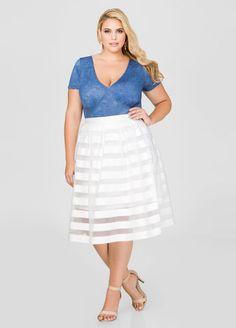 abeb58f56 Sheer Stripe Pleat Skirt Sheer Stripe Pleat Skirt Best Plus Size Clothing, Plus  Size Fashion. Ashley Stewart