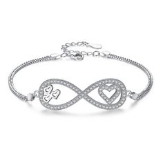 EVER FAITH® 925 Sterling Silver CZ Big Figure 8 Infinity Love Heart Bracelet Double Chain Clear N07405-1 >>> You can find out more details at the link of the image. #Bracelets