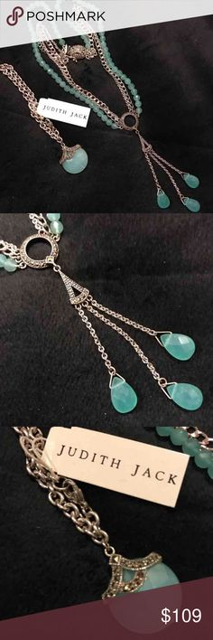 Judith Jack Necklace & Bracelet Set Genuine Judith Jack Necklace worn one time. Bracelet is new with tag.  925 Sterling Marcasite silver. The stone is a semi precious stone but I don't remember which one it is.  Pictures don't do this gorgeous set justice!! Judith Jack Jewelry Necklaces
