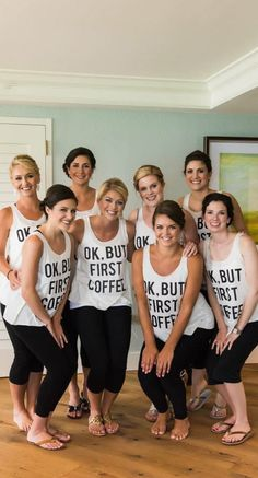 Bridal Party Outfits Getting Ready Bridesmaids Tank Tops Ideas - Best Picture For Bridesmaid Outfit leggings For Your Taste You are looking for someth Bridesmaid Get Ready Outfit, Bridesmaid Getting Ready, Casual Bridesmaid, Bridesmaid Dresses, Bridesmaid Ideas, Wedding Dresses, Trendy Wedding, Wedding Day, Wedding Stuff