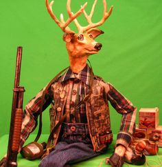 Handmade OOAK White Tail Buck Deer Hunter Doll by cre8orstouch, $200.00
