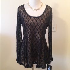 Catherine Malandrino Stretchy Lace Peplum Gorgeous Catherine Malandrino fully lined, stretchy lace peplum top. Brand new with tags. Size small, but fits me perfect as a medium. Runs big. ❌ NO TRADES ❌ NO PP❌ NO LOWBALLING ❌ Catherine Malandrino Tops