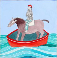 How Apsen feels about swimming..... HorseinRedBoat by cate edwards, via Flickr