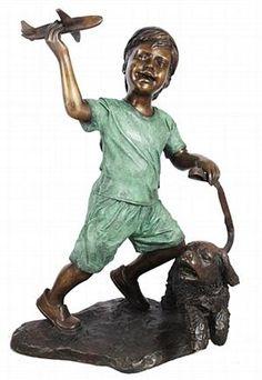Bronze Boy with Dog Statue