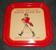 Vintage 60's -70's Johnnie Walker Red Bar Serving Tray