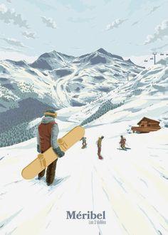 ~ Bucket List Prints Winter Illustration, Illustration Art, French Ski Resorts, Mountain Art, Mountain Biking, Ski Posters, California Art, Vintage Travel Posters, Skiing