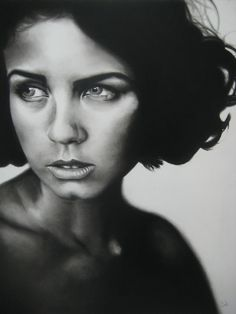 "Samuel Jan, Mia, 16""x 20""  charcoal framed, SOLD"