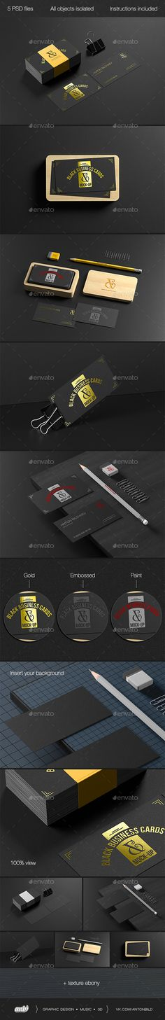 Black Business Cards Mockup — Photoshop PSD #layout #foil • Available here → https://graphicriver.net/item/black-business-cards-mockup/19263559?ref=pxcr